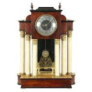 Empire 1880 Antique Clock, Marble Columns