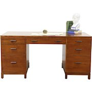 Stickley Signed Cherry 2014 Library or Executive Desk, 2 File Drawers