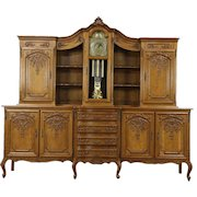 "Country French Vintage 8' 8"" Oak Sideboard, Bar & China Cabinet, Clock"