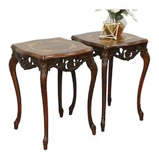 Pair Carved Vintage End or Lamp Tables, Inlaid Marquetry & Burl Tops