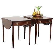 Pair Vintage Pembroke Dropleaf Mahogany Lamp or End Tables, Nightstands, Miller