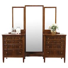 Rosewood Antique 1915 Vanity or Dressing Table, Triple Mirrors