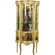 Gold 1920's Antique French Vitrine or Curio Display Cabinet, Curved Glass