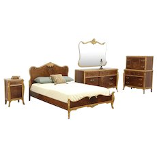 French Style 5 Pc. 1930's Vintage Marquetry Bedroom Set, Full Size Bed, Joerns