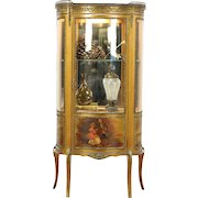 French Vernis Martin Antique Curved Glass Vitrine or Curio Display Cabinet