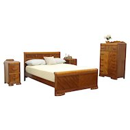 Art Deco Waterfall 4 Pc Bedroom Set, Full Size Bed, 1930's Vintage