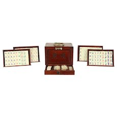 Mah Jong Antique 1920's Set, Rosewood Case, Bone & Bamboo Majong Pieces