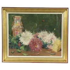 Chrysanthemums & Chinese Vase Original Oil Painting, Leon Reding