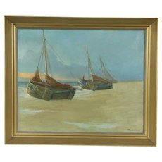 Fishing Boats, Original 1930's Oil Painting, Signed Horckmans, Belgium