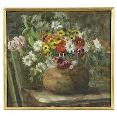 Still Life with Flowers, 1920's Antique Oil Painting, Signed Van Der Smissen