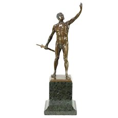 Bronze Sculpture of Man with Sword, 1890 Antique Statue, Signed Kowalczewski