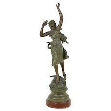 La Nuit or Night Sculpture, Antique 1900 Statue, signed Kossowski, France