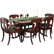 Mahogany Traditional Vintage Dining Set, Table & 3 Leaves, 6 Chairs, Drexel