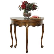 Oak Half Round Demilune Vintage Console, Opens to Round Game Table, Signed Baker