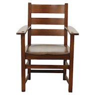 Arts & Crafts Mission Oak 1905 Antique Craftsman Chair, Pegged Joints