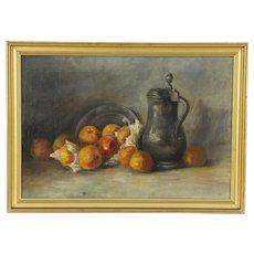 Still Life Pewter Jug & Fruit Original Oil Painting, 1910 Antique, Holland