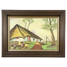 Farmhouse in Denmark, Original Oil Painting, 1950's Vintage, Signed Molthys
