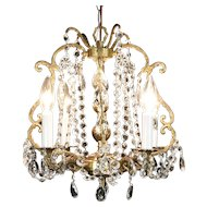 Chandelier with 4 Candles, Vintage Gold Plate & Cut Crystal Prisms