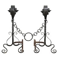 Wrought Iron Antique Fireplace Andirons, Cyril Colnik?