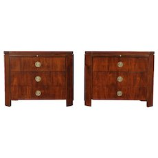 Pair of Vintage Mahogany End Tables or Nightstands, Signed Baker