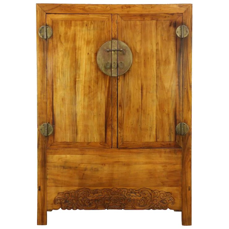 Chinese Antique Armoire or Cabinet, Hand Carved, Original Brass Hardware - Chinese Antique Armoire Or Cabinet, Hand Carved, Original Brass