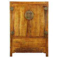 Chinese Antique Armoire or Cabinet, Hand Carved, Original Brass Hardware