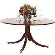 Round Banded Mahogany Dining, Breakfast or Conference Table, Signed Councill