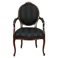 French Louis XVI Style Carved Vintage Chair, New Upholstery