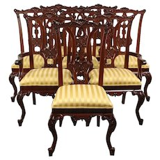 Set of 8 Georgian Style Vintage Carved Mahogany Dining Chairs, New Upholstery
