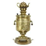 Samovar Set, Antique Russian Brass Tea Kettle, Pot & Tray, Stamps Signed 1870