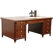 Executive Office or Library Vintage Mahogany Desk, Bronze Feet & Knobs, Lincoln
