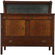 Arts and Crafts Mission Oak 1905 Antique Craftsman Sideboard Server, Rockford