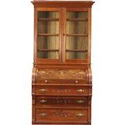 Victorian Eastlake 1890 Antique Cylinder Roll Top Secretary Desk & Bookcase