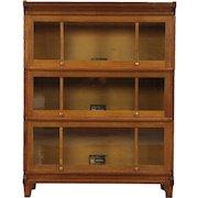Arts & Crafts 3 Stack Mission Oak Craftsman Lawyer Bookcase, Signed Viking