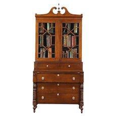 Sheraton 1830 Antique Curly Tiger Maple Secretary Desk & Bookcase