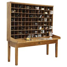 Post Office Antique Oak Mail Sorting Table, Wine Rack & Tasting Table