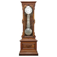 Victorian Antique Jeweler Regulator Walnut Long Case Clock