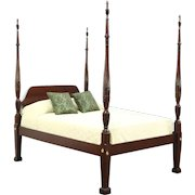 Poster Rice Plantation Vintage Carved Mahogany Full Size Bed, Signed Councill