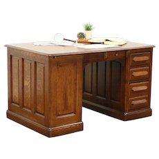 Oak 1880 Antique Partner Desk, Leather Top