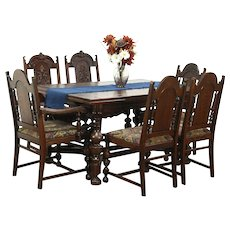 Oak Carved English Tudor 1925 Dining Set, Table & 6 Chairs