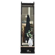 Eastlake Antique Hall Pier Mirror, Ebonized Cherry, Marble Shelf