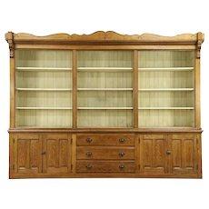 "Oak Antique 1870 Store Display Cabinet or Pantry Cupboard, 10' 2"" Long"