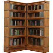 Corner Pair of 5 Stacking Oak Antique Lawyer Bookcases, Signed Macey & Globe
