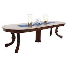 """Arts & Crafts Mission Oak Antique 45"""" Craftsman Dining Table, 6 Leaves"""