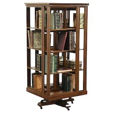 Oak Antique 1890 Spinning or Revolving Bookcase, Signed Danner, 5' Tall