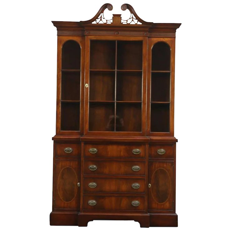 Traditional Vintage Mahogany Breakfront China Cabinet or Bookcase, : Harp  Gallery Antique Furniture | Ruby Lane - Traditional Vintage Mahogany Breakfront China Cabinet Or Bookcase