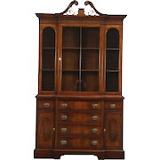 Traditional Vintage Mahogany Breakfront China Cabinet or Bookcase, Berkey & Gay