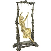 Bronze Antique Art Nouveau Sculpture of Girl on a Swing, Signed Aug. Moreau