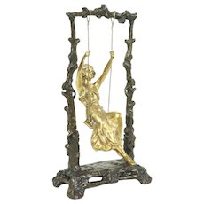 Bronze Antique Art Nouveau Sculpture of Girl on a Swing, Signed Aug. Moreau