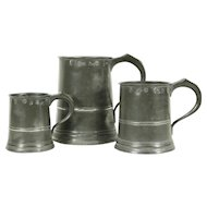 Set of 3 Antique Graduated Pewter Mugs, Yates & Birch, Birmingham, England